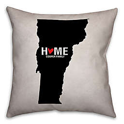 Vermont State Pride Square Throw Pillow in Black/White