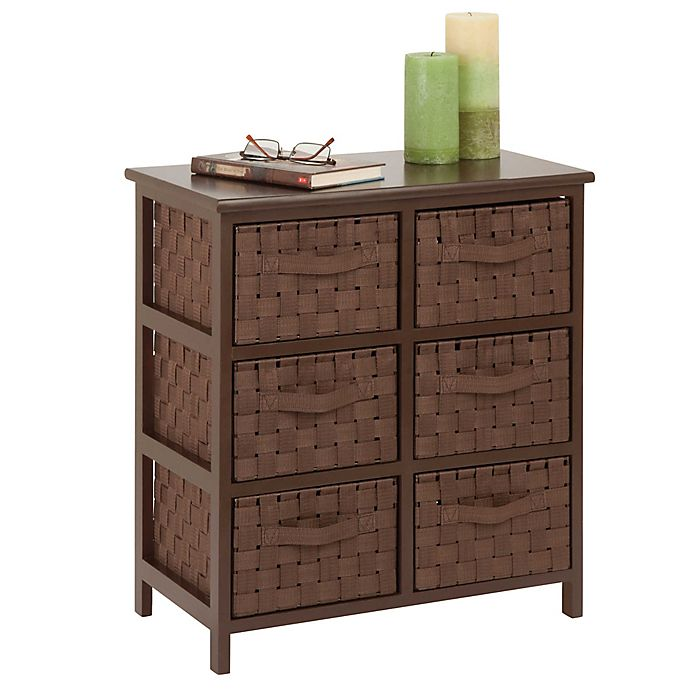 Alternate image 1 for Honey-Can-Do® 6-Drawer Woven Strap Storage Chest in Light Espresso