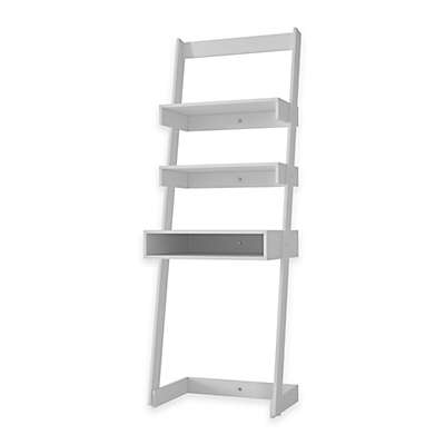 Manhattan Comfort Urbane Carpina 2-Shelf Ladder Desk Bookcase in White