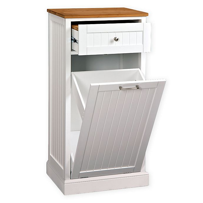 Microwave Kitchen Cart with Hideaway Trash Can Holder in ...