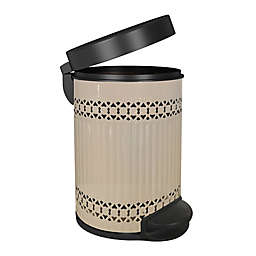 nu steel Metal Step Trash Can with Removable Liner Bucket in Ivory