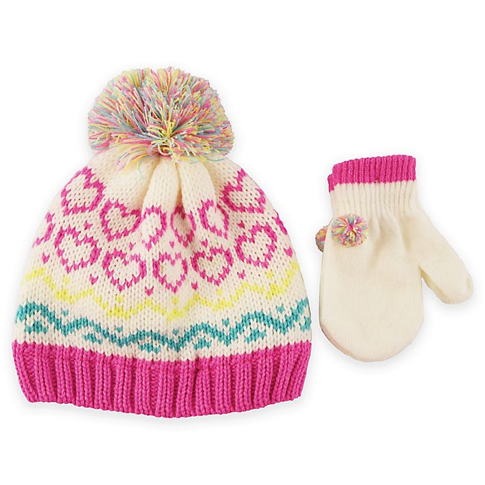 Alternate image 1 for Rising Star™ Heart Beanie and Mitten Set in Ivory