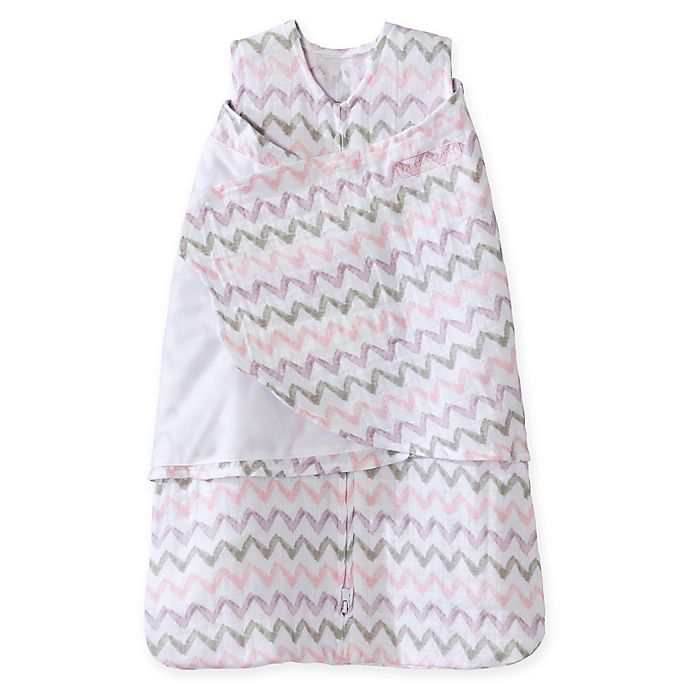 Alternate image 1 for HALO® SleepSack® Chevron Muslin Multi-Way Swaddle in Pink/Grey