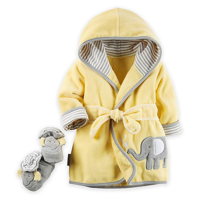 Alternate image 1 for carter's® 2-Piece Elephant Robe and Booties Set in Yellow/Grey