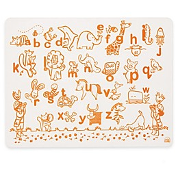 Modern Twist Alphabet Animals Map Doodle Placemat in White/Orange