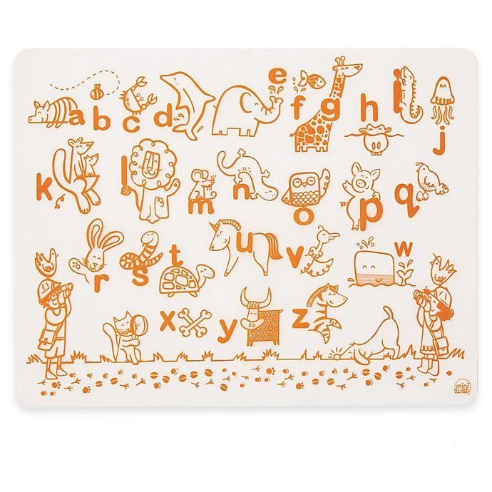 Alternate image 1 for Modern Twist Alphabet Animals Map Doodle Placemat in White/Orange