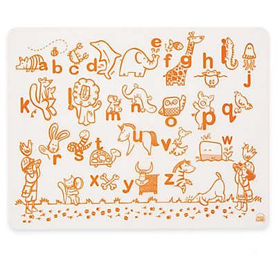 Modern Twist Alphabet Animals Map Doodle Placemat in White/Orange
