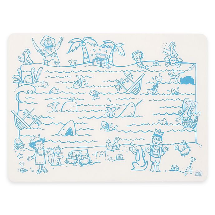 Alternate image 1 for Modern Twist Treasure Map Doodle Placemat in White/Blue
