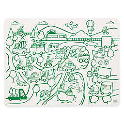 Modern Twist Transportation Doodle Placemat in White/Green