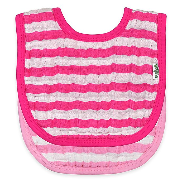 Alternate image 1 for green sprouts® 2-Pack Muslin Stripe Bibs in Pink