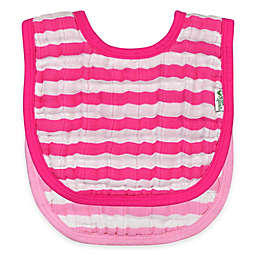 green sprouts® 2-Pack Muslin Stripe Bibs in Pink