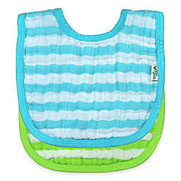 green sprouts® 2-Pack Muslin Stripe Bibs in Aqua/Green