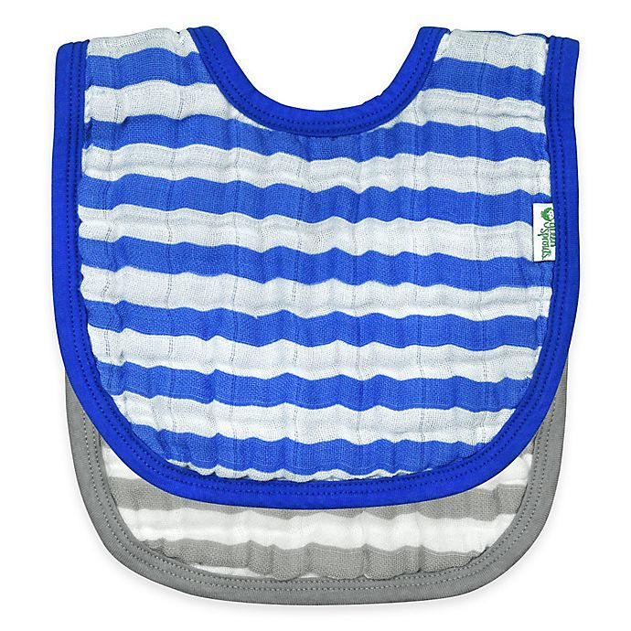 Alternate image 1 for green sprouts® 2-Pack Muslin Stripe Bibs in Royal Blue/Grey