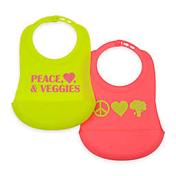 chewbeads® Boy Veggie 2-Pack Silicone Bibs in Green/Pink