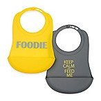 chewbeads® Boy 2-Pack Silicone Food Bibs in Grey/Yellow