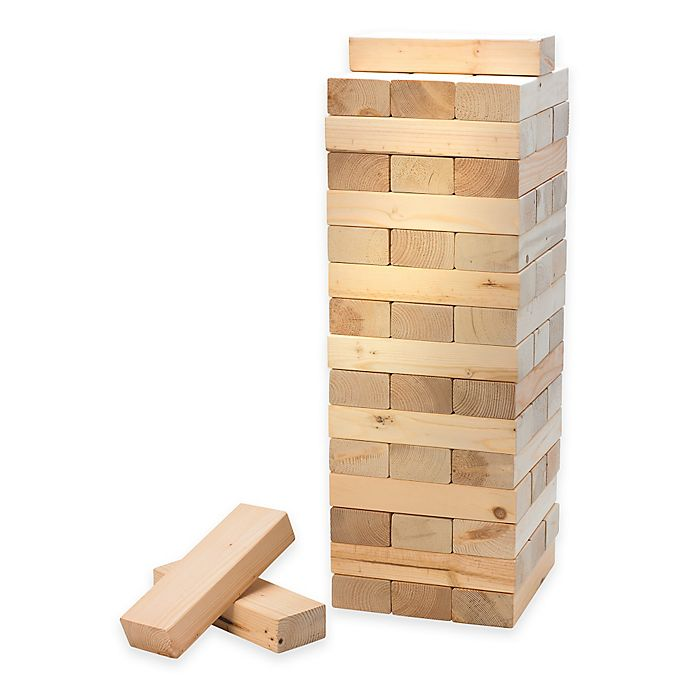 Alternate image 1 for Jumbo Wood Block Stacking Game