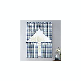 Colordrift Lloyd Stitch Rod Pocket Window Curtain Tier and Valance Collection