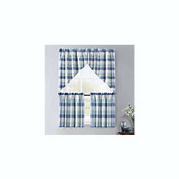 Colordrift Lloyd Stitch 2-Pack Swag Window Valances in Blue