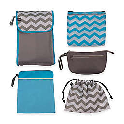 5-in-1 Diaper Bag Organizer in Grey/Teal Chevron
