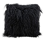 Mina Victory Couture Fur 16-Inch Square Throw Pillow in Black