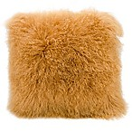 Mina Victory Couture Fur 16-Inch Square Throw Pillow in Amber