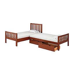 Aurora L-Shaped Corner Twin Bunk Bed with Storage in Chestnut