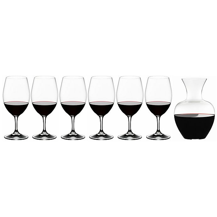 Alternate image 1 for Riedel® Ouverture 6-Piece Magnum Wine Glass Set with Apple Decanter