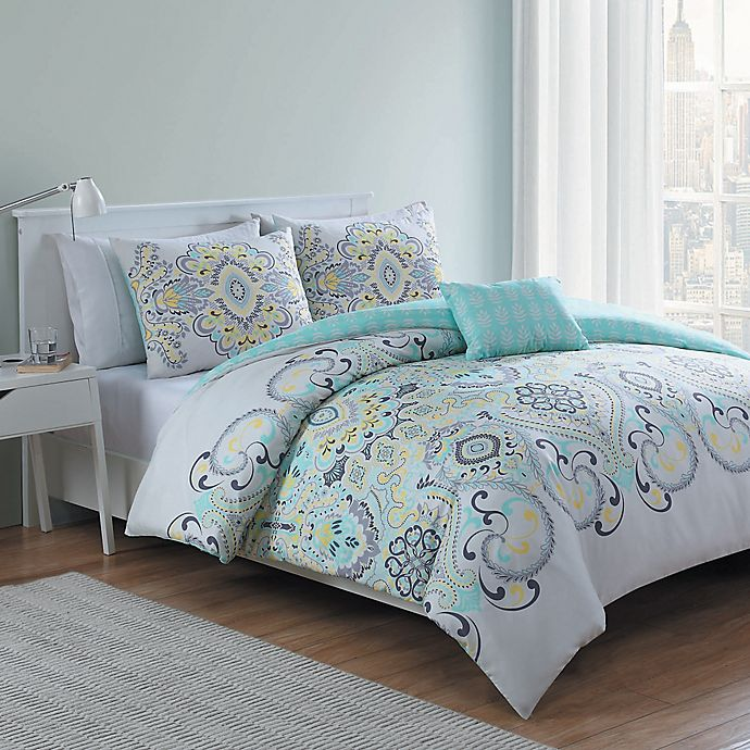 Alternate image 1 for VCNY Amherst 4-Piece Reversible Comforter Set in White/Aqua