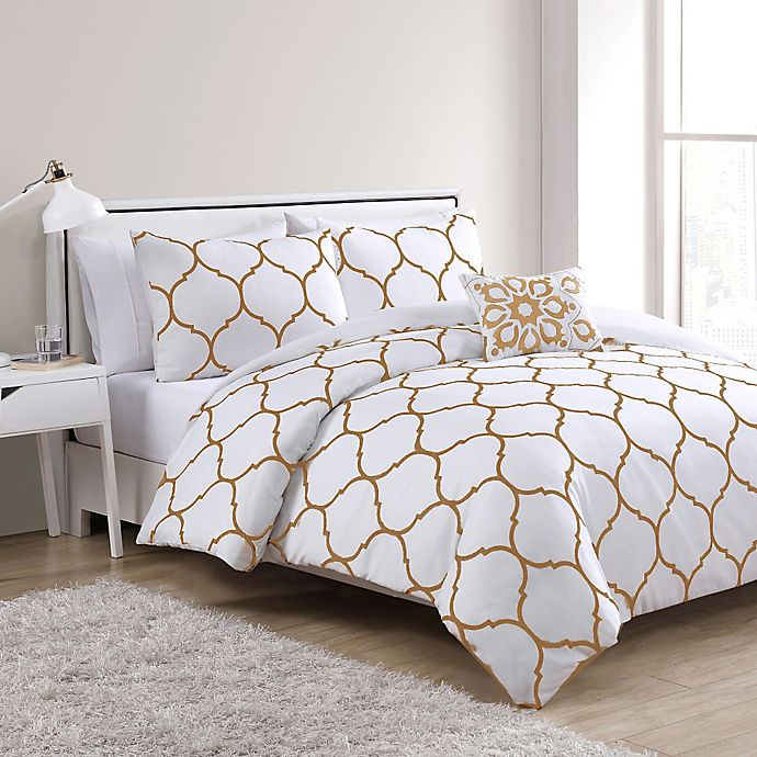 Alternate image 1 for VCNY Ogee Comforter Set in Gold/White