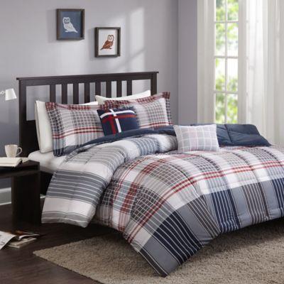 Cozy Soft® Caleb Comforter Set in Grey/Navy/Red | Bed Bath ...