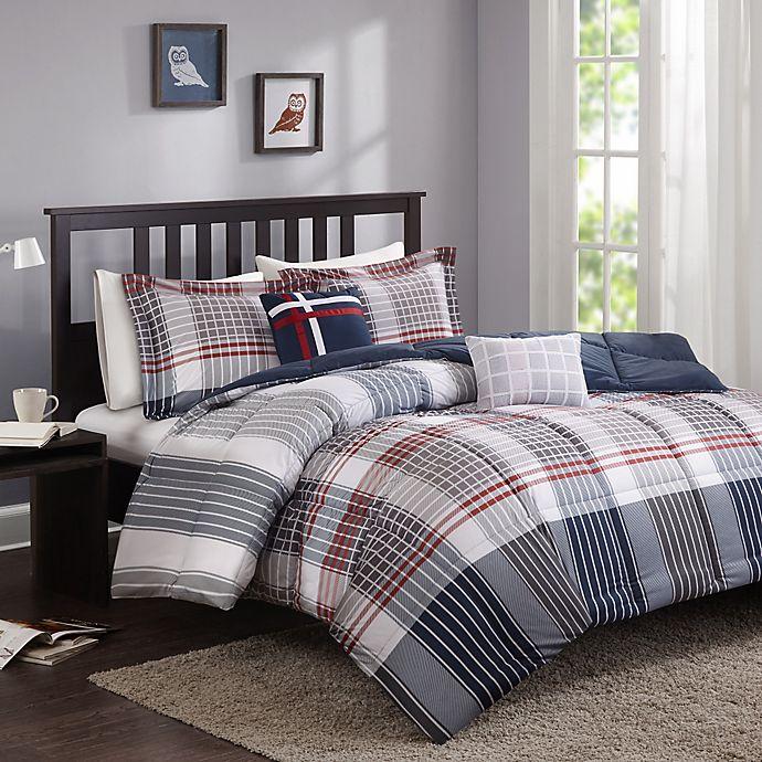 Cozy Soft® Caleb Comforter Set in Grey/Navy/Red   Bed Bath ...