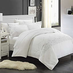 Chic Home Saunder 3-Piece Duvet Cover Set in White