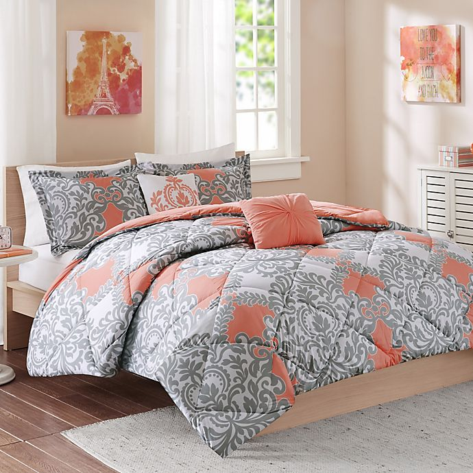 Coral And Gray Bedroom: Cozy Soft® Mia Comforter Set In Coral/Grey/White