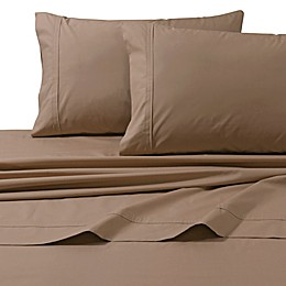Tribeca Living Marwah 3-Piece 300-Thread-Count Cotton Percale Twin XL Sheet Set in Coffee