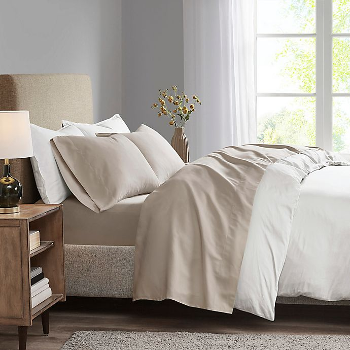 Alternate image 1 for Madison Park 3M Microcell Queen Sheet Set in Khaki
