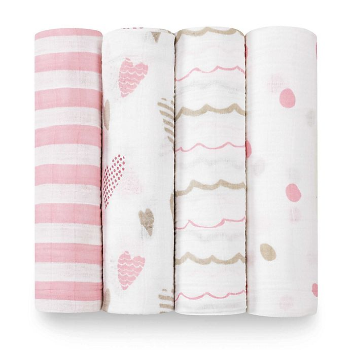 Alternate image 1 for aden + anais® Heartbreaker 4-Pack Classic Muslin Swaddle Blankets in White/Pink