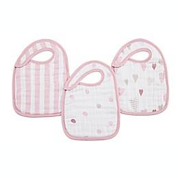 aden + anais® 3-Pack Heartbreaker Classic Muslin Snap Bib in Pink