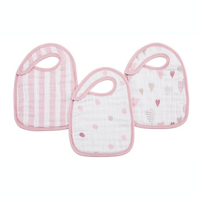 Alternate image 1 for aden + anais® 3-Pack Heartbreaker Classic Muslin Snap Bib in Pink