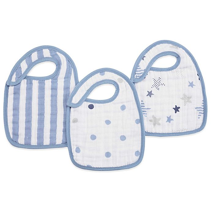 Alternate image 1 for aden + anais® 3-Pack Rock Star Classic Muslin Snap Bib in Blue
