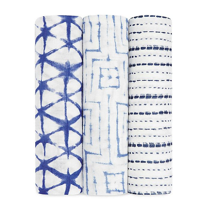 Alternate image 1 for Aden + Anais & 3-Pack Silky Soft Indigo Swaddle Blanket in White