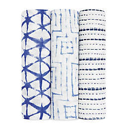 Aden + Anais & 3-Pack Silky Soft Indigo Swaddle Blanket in White