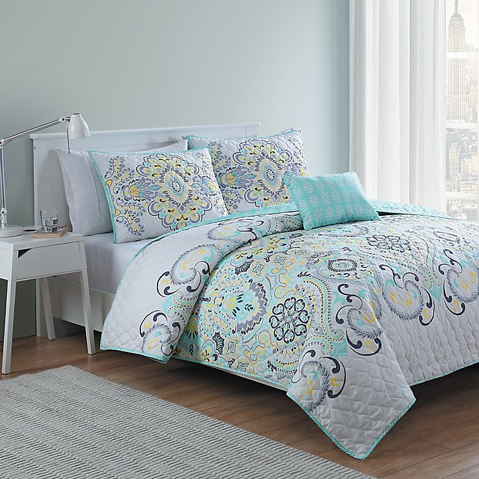 Alternate image 1 for VCNY Amherst 4-Piece Reversible Quilt Set in White/Aqua