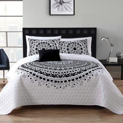 Vcny Tessa Quilt Set In Blackwhite Bed Bath Beyond