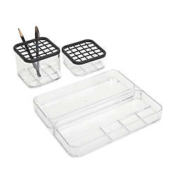 Cosmet Carrel 3-Piece Tray Set in Clear