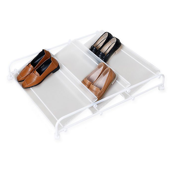Alternate image 1 for 3-Shelf Underbed Rolling Shoe Rack in White