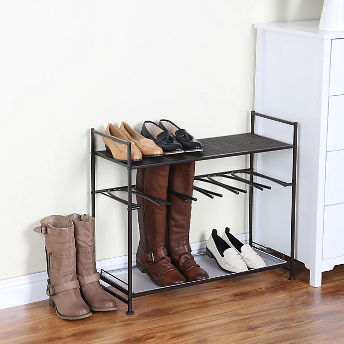 Alternate image 1 for Stackable Boot and Shoe Rack in Bronze