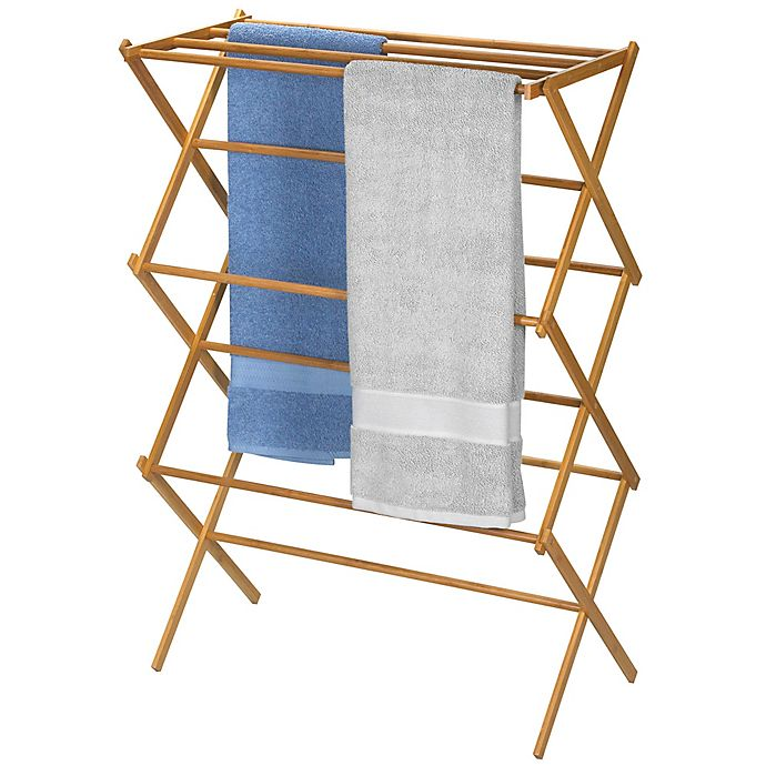 Household Essentials® Bamboo X Frame Clothes Drying Rack | Bed