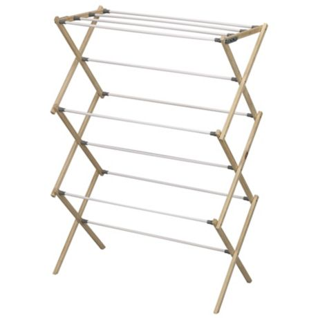 Household Essentials 174 Pine Wood X Frame Drying Rack Bed