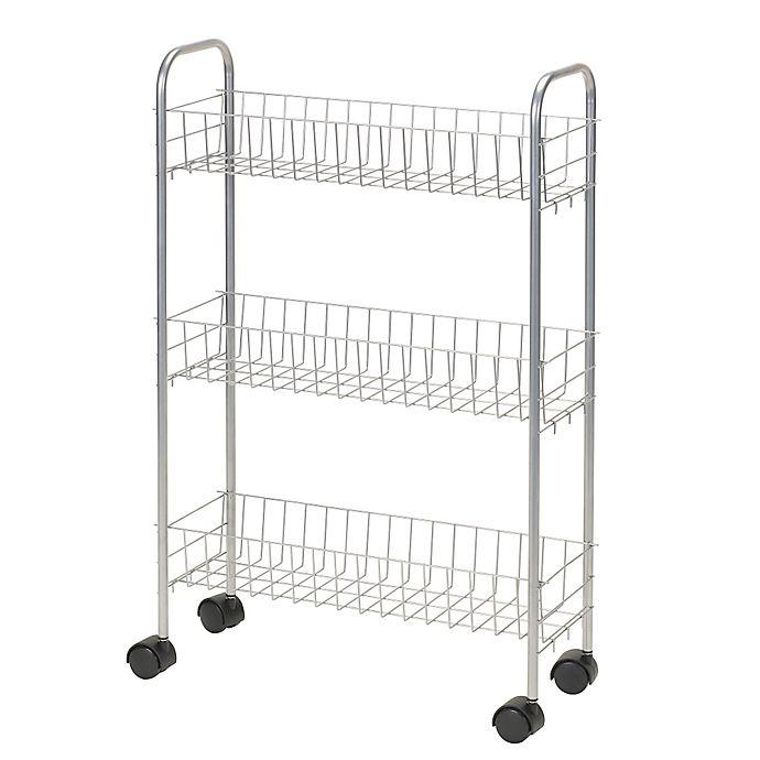 Alternate image 1 for Household Essentials® 3-Shelf Slimline Utility Cart in Silver