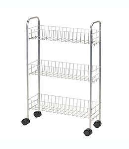 Carrito de servicio Household Essentials® de 3 niveles en plata